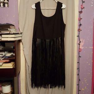 Lane Bryant black fringe dress
